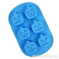 MUZI Silicone Cake Mold 6-Cavity Halloween Pumpkin for DIY Craft Handmade Soap and Cake Baking Mold 26x17.5cm - B07DWQTFPR