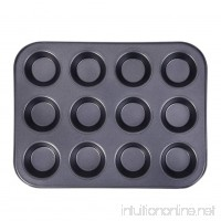 12-Cavity Nonstick Carbon Steel Mini Cake Egg Tart Mold Muffin Cupcake Baking Pan - B072R64RS3