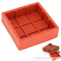 New Arrival Wine Red Silicone 3D Square Castle Shape Mold for Mousse Cake Pudding Brownie Cheesecake Bakeware Tools - B06XPVTZXM
