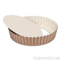 "Patisse Extra Deep Round Quiche Pan with Removable Bottom 9-7/8"" or 25 cm in Diameter Ceramic Nonstick Coated Off-White/Copper Color 03355 - B07419WV24"