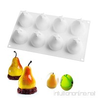 Silicone Mousse Cake Mold 3D Pear Shape for Easter Christmas Truffle Desserts Jelly DIY Kitchen Baking Tools Non Stick  BPA Free  Food Grade Silicone  8-Cavity  Pack of 1 - B075P5WK72