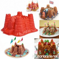 3D Castle Cake Mold - MoldFun Castle Silicone Pan Mold for Bread Baking  Chocolate  Ice Cream  Beach Sand  Snow - B077HT4PMZ