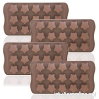 DaKuan Stars Shaped Ice Tray  4 Packs Flexible Chocolate Molds  Reusable Stars Shaped Candy Making Molds  Food Grade Molds for Chocolate Molds  Homemade Soap - Brown - B07CCH21PG