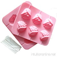 JLHua 6 Rose Shapes Silicone Lollipop Mold Tray Pop Cake Stick Mould for Party Holidays Cupcake Baking - B01ELMD3J2