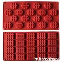 MANSHU 18-Cavity Silicone Mini Rectangle and Round Waffle Mould  Waffle Cookie mold  Chocolate Mould Candy Mould Silicone Baking mold  2pcs! - B075XHZ1WD