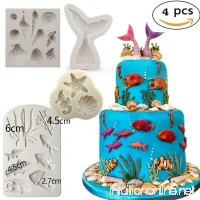 Marine Theme Cake Fondant Mold - Seaweed Fish Seashell Mermaid Tail Silicone Mold for Mermaid Theme Cake Decoration Chocolate Candy Polymer Clay Cupcake Cookie Jelly Sugar Craft - B07FVL4T73