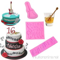Multi Music Note Lace Silicone Mold and Guitar Music Note Cake Mold for Fondant Mat Cake Decorating Tool Candy Mold Chocolate Cookie Dessert Baking Mold Baking Tool Cupcake Topper (Set of 3) - B07F6DPD9S