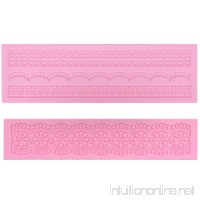 Prokitchen Large Flower Lace Fondant Molds Silicone Lace Embosser Mold Fondant Impression Mats for Cake Decorating Set of 2 (Pink) - B071D8PWTY