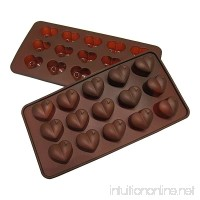 Silicone Heart Mold Shaped BY Craviy -Set of 2- Silicone Chocolate Molds Candy Jelly Heart Shaped Ice Cube Soap - B0157Q5D2G