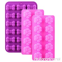 WARMWIND Silicone Dog Molds Food Grade Chocolate Candy Biscuit Molds Puppy Bone Paw Molds Healthy Dog Treats Reusable Ice Cube Trays Dishwasher Safe Pink Purple(Set of 3) - B0794STSB1