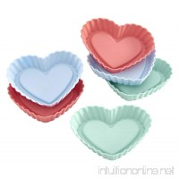 Lurch Germany Flexiform Silicone Heart Shaped Tartlet Molds Set of 6  Pink/Green/Blue - B01HGX6OO4