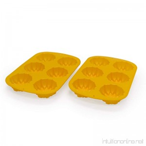 Marathon Housewares KW888SET15 Premium Silicone 6 Cup Sunflower Cupcake/Soap Mold Pan 2-piece Set (Yellow) - B06XXNGB91