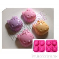 SET OF TWO HELLO KITTY Molds Pans for Candy Desserts Soaps and Crafts. (4 Cavity Each; 8 Cavity Total) Silicone by POLYMEROSE T.M. - B009OLMXVA