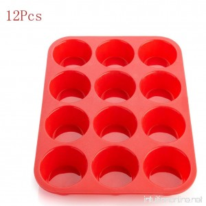 Silicone Muffin Pan 12-Cup Muffin PanNon-Stick Red Cupcake Baking Tray Mousse Cake Mold Muffin Pan (12 cake molds) - B076KHYPGM