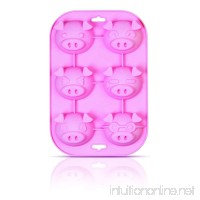 SiliconeZone Piggy Collection Non-Stick Silicone 6-Cup Muffin Mold Pink - B009JT3R1C