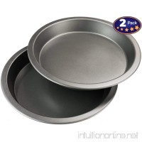 "9"" Round Non-Stick Pie Pan 2 Pack. Advanced Teflon & BPA-Free Coating For Easy Cleaning & Reduced Wear. Heavy Gauge Metal Dish Provides Even Heating For Consistent Results. Dishwasher Safe 9 Inch Set. - B01M0XH7F9"