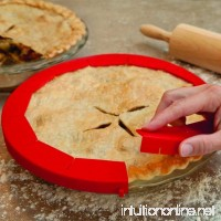 Transer Adjustable Silicone Pie Crust Shield Pie Protectors FDA Food-safe Silicone Fit 8.5 - 11.5 (Red) - B07DVFP5QR