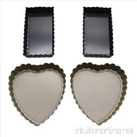 Buorsa 4 Pcs Tart Pans with Removable Bottom Rectangular Quiche Pan and Heart Shaped Quiche Pans Pie Pans - B07FKMNT1M