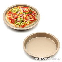 MZCH Non-Stick Quiche Tart Pan  Tart Pie Pan  Round Pizza Pan  Gold  8 inches - B073VMZBCD