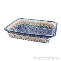 Blue Rose Polish Pottery Garden Bouquet Large Rectangular Baker - B079799Y3L