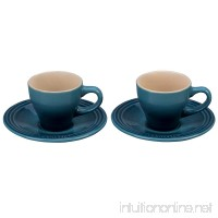 Le Creuset Stoneware Set of 2 Espresso Cups and Saucers - Marine - B01N0Z893I