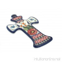Polish Pottery Floral Butterfly Cross - B002S0TKNS