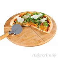Kesper Pizza Plate With Pizza Cutter 12.60 of Bamboo Brown - B00CHJBBAK
