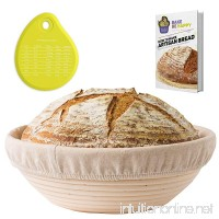 Banneton Proofing Basket Set - Round Brotform 10 Inch Kit - Removable Cloth Linen Liner - Natural Cane Rattan Bowl - Ideal for Dough Rising and Crispy Artisan Bread Boules - eBook - Instructions - B01M3NTCF8