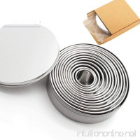 Stainless Steel Mousse Circle 12 Piece Round Cake Mold Fondant Donut Cookie Mold Round Baking Utensil - B07G3RMC11