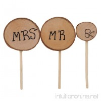 VWH 1Set Cute Mr & Mrs Wooden Cake Inserted Toppers Rustic Wedding Event Party Decoration - B07FKFCFGX