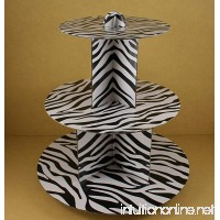 "12"" Three Tiers Cupcake Stand ALL Zebra Stripped Print (BLACK & WHITE) - B00J4Q2M2U"