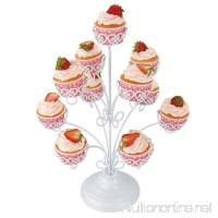 3 Tier Cupcake Stand Tower Tree White Iron Hold 11 Regular Cupcakes Display Pastry Stands Nuobo - B07BL1XLX5