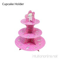HOODS Cupcake Holder Dessert Stand 3 Tier for Party Birthday Holiday Wedding Halloween Thanksgiving Christmas Pink Milk-bottle - B07DKFFNXN