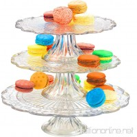 Palais Glassware Elegent 3 in 1 Cupcake or Cake Stand - Mix and Match Use As a One Tier Two Tier or Three Tier or As 3 Separate Cake Stands - 10 High X 12 Diameter (Leaf Design) - B00NMVIID0