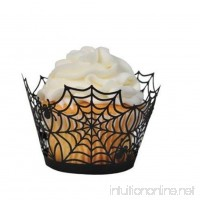 Eamall 24pcs Spiderweb Laser Cut Cupcake Holders Cupcake Wrappers Wraps Liners Halloween Party Supplies Cake Decoration (Spider Black) - B075MWY157