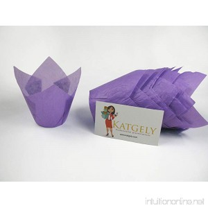 Katgely Purple Tulip Cupcake Liners Medium Height 2.5 to 3.5 Inches Tall (Pack of 200) - B01HFNLHRY