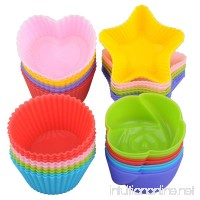 Silicone Cupcake Liners Cake Mold - Lunaoo 24 Nonstick Baking Muffin Cups Heat Resistant Reusable - Make Nice and Cute Cupcakes for Party - BPA Free FDA Approved - B073QRR9MZ