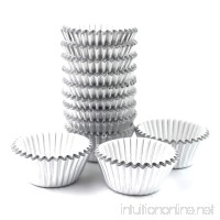 Xlloest Premium Mini Foil Baking Cups  Cupcake Liners Paper  Pack of 300 (Silver) - B077DQB73W