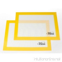Artestia Premium Silicone Baking Mat  Non Stick Heat Resistant Liners for Cookie Sheets  Quarter Sheet Size  Set of 2 (Lemon Yellow) - B01A6N1U2C