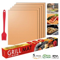 FLY5D Copper Grill Mat and Bake Mat Set of 5 Non Stick BBQ Grill & Baking Mats - Reusable  FDA Approved  PFOA Free.for Gas  Charcoal  Electric Grill Oven and More (15.7 x 13 inch)(golden) - B07DVJN6MQ