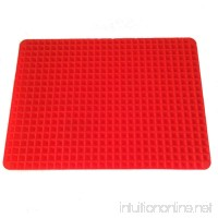 Non Stick Heat Resistant Raised Pyramid Shaped Silicone Baking Mat (11.5x16 Inches) - Perfectly Drains Excess Fats - Good for BBQ  Grilling  Baking - Food Grade Silicone -Roasting Mats Red - B01LO3QNCA