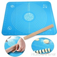 Silicone Rolling Mat And Wooden Pin  Amytalk 15.7''19.6'' Non-Stick Silicone Pastry Mat And 11.8'' Wooden Rolling Pin  Reusable Pastry Mat with Measurements  Liner Heat Resistance Table Placemat Pad - B07FJM9N9K