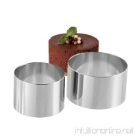 2PCS 18/8 Stainless Steel Food Tower Presentation Cooking Rings︳ Premium Food Grade Stainless Steel Dessert Rings Molding︳Layering Cake Cutter Cake Rings Mousse Rings︳Desserts Making︳3 Inch and 4 Inch - B07BZFXK5Z