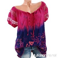 GREFER Women T-Shirt Blouse Short Sleeve Lace Printed Loose Tops - B07DFMHT79