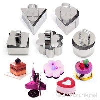 SUPOW Stainless Steel Cake Mold  Heart Dessert Mousse Mold with Pusher Cake Rings for cake  baking  layering  and molding. - B074WPVB3T