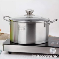 Stainless Steel Stockpot Stock Pot With Lid Heat-Proof Double Handles - Dishwasher Safe Dia: 24Cm High: 10Cm - B07G46QSM3