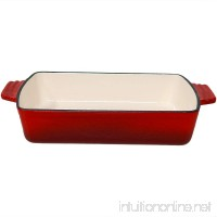 "Sunnydaze Enameled Cast Iron 11.5"" Deep Baking Dish Roaster/Lasagna Pan  Red - B06XWMFYJR"