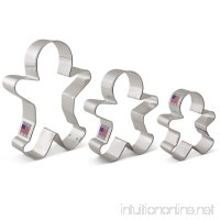 "Gingerbread Man/Men Cookie Cutter Set - 3 Piece - 2.875""  3.75""  5"" - Ann Clark Cookie Cutters - US Tin Plated Steel - B01M696STS"