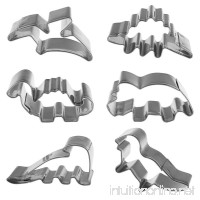 Shxstore Mini Dinosaur Cookie Cutter Set Stainless Steel Jurassic Dino Shaped Cookie Candy Food Molds  6 Counts - B0771MBM8T