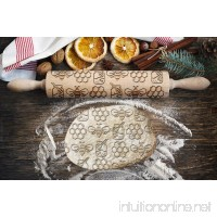 Bee pattern  engraved rolling pin  for cakes and cookies  kitchen tool  original shape - B07DW8FY15
